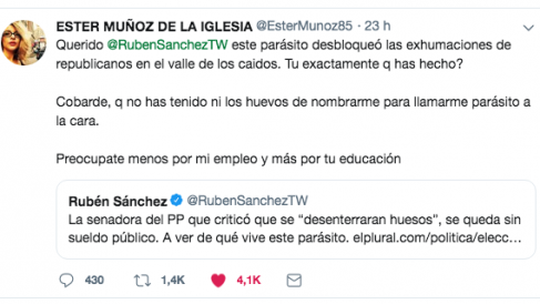 El mensaje de la ex senadora Ester Muñoz dirigido al portavoz de Facua, Rubén Sánchez.