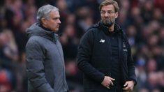 Mourinho y Klopo durante un partido de la Premier. (Getty)