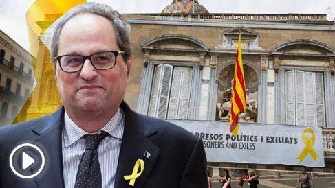 Quim Torra y el balcón del Palau de la Generalitat