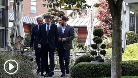 Carles Puigdemont, Quim Torra y Toni Comín. Foto: Europa Press