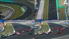 El espectacular accidente múltiple en el GP de España de Moto 2. (DAZN)