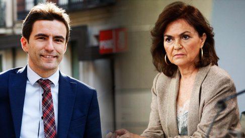 El candidato del PSOE a la Alcaldía de Santander, Pedro Casares, junto a la vicepresidenta Carmen Calvo.