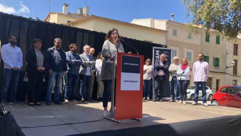 Francina Armengol presenta la candidatura conjunta dekl PSOE con ERC en Pollensa