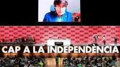 Carles Puigdemont habla a sus seguidores por vídeoconferencia (Foto: EFE)