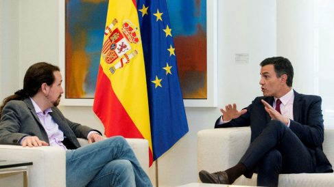 Pedro Sánchez con Pablo Iglesias, en La Moncloa.