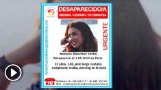 Natalia Sánchez, la joven desaparecida en París.