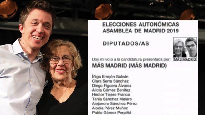 Íñigo Errejón y Manuela Carmena junto a la papeleta. (Foto. Más Madrid)