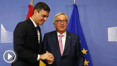 El presidente Pedro Sánchez y Jean-Claude Juncker, presidente de la Comisión Europea. (EP)