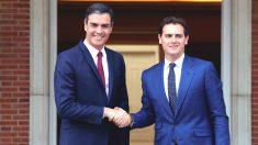 El presidente del Gobierno en funciones, Pedro Sánchez, y Albert Rivera en la Moncloa (EFE)