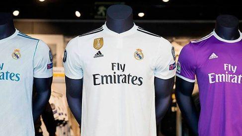 Camisetas de las tres últimas Champions del Real Madrid. (Realmadrid.com)