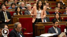 Arrimadas y Torra en el Parlament. Foto: Europa Press