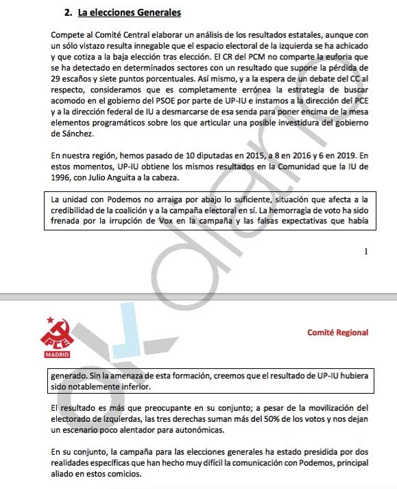 Extracto del informe del PCE. (Clic para ampliar)