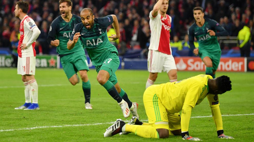 Lucas Moura firmó un hat-trick contra el Ajax. (Getty)