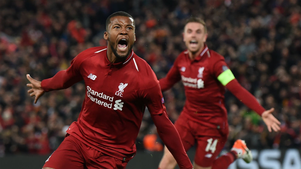 Wijnaldum celebra uno de los goles del Liverpool ante el Barcelona. (AFP)