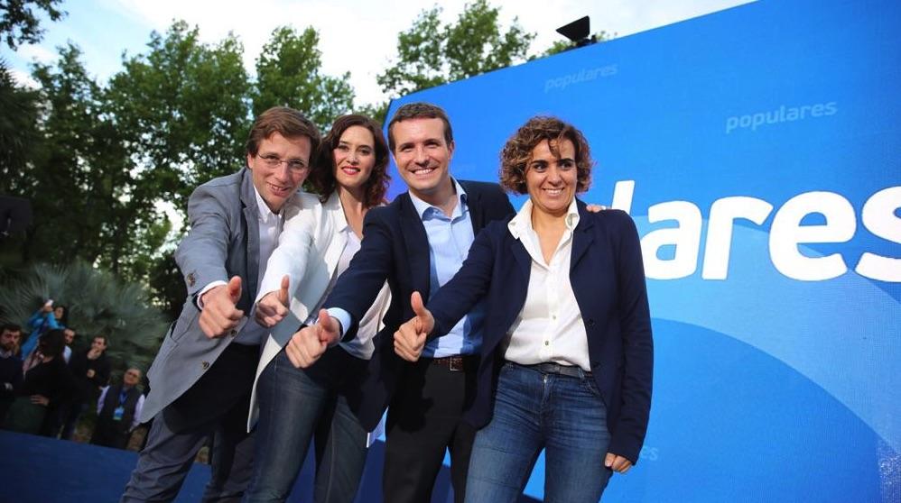Almeida, Ayuso, Casado y Monsterrat en el inicio de campaña. (Foto. PP)
