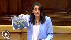 Inés Arrimadas denuncia en el Parlament pintadas separatistas delante de su domicilio