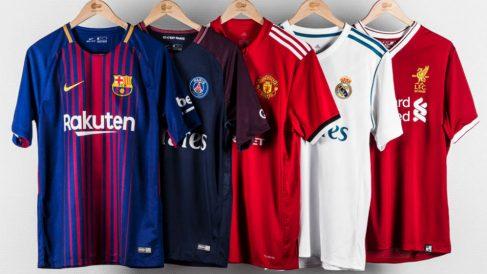 Las camisetas de algunos de los equipos más importantes de Europa. (Unisport.com)