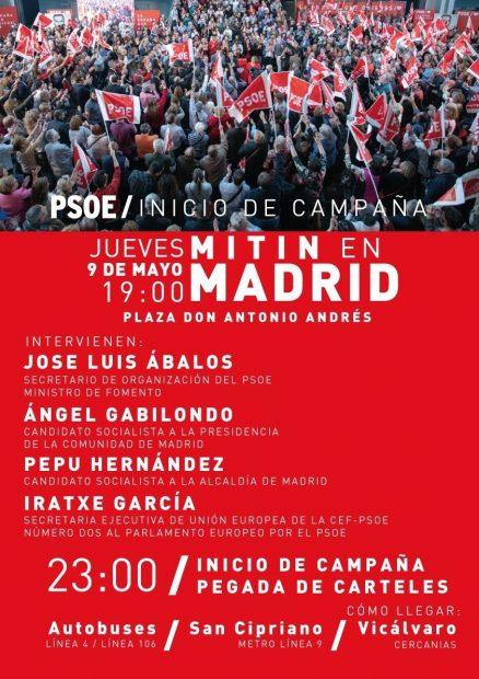 Cartel del arranque de campaña socialista en Madrid para las elecciones municipales 2019.