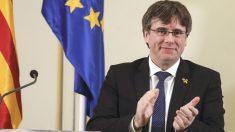 El ex presidente de la Generalitat fugado, Carles Puigdemont, durante una rueda de prensa en Bélgica. (Foto: Europa Press)