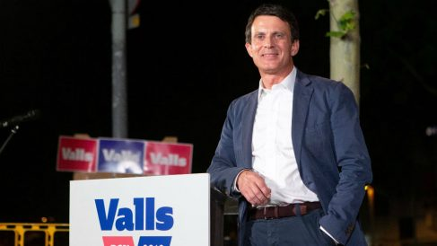 El candidato a la Alcaldía de Barcelona Manuel Valls, en el acto de inicio de campaña (Foto: EFE).