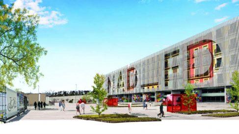 Fachada sur del centro comercial MAD–FD que proyecta El Corte Inglés en Arroyosur (Madrid)