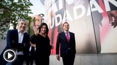 Los cabezas de lista de Cs al Parlamento europeo, Luis Garicano, a la alcaldía de Madrid, Begoña Villacís, y a la Comunidad de Madrid, Ignacio Aguado (Foto: EFE).