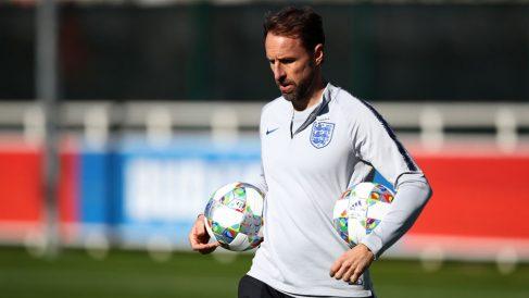 Southgate, durante un entrenamiento con Inglaterra. (Getty)