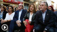 Los candidatos socialistas a la Comunidad, Ángel Gabilondo, al Ayuntamiento de Madrid, Pepu Hernández (d), y al Parlamento europeo, Iratxe García (Foto: EFE).