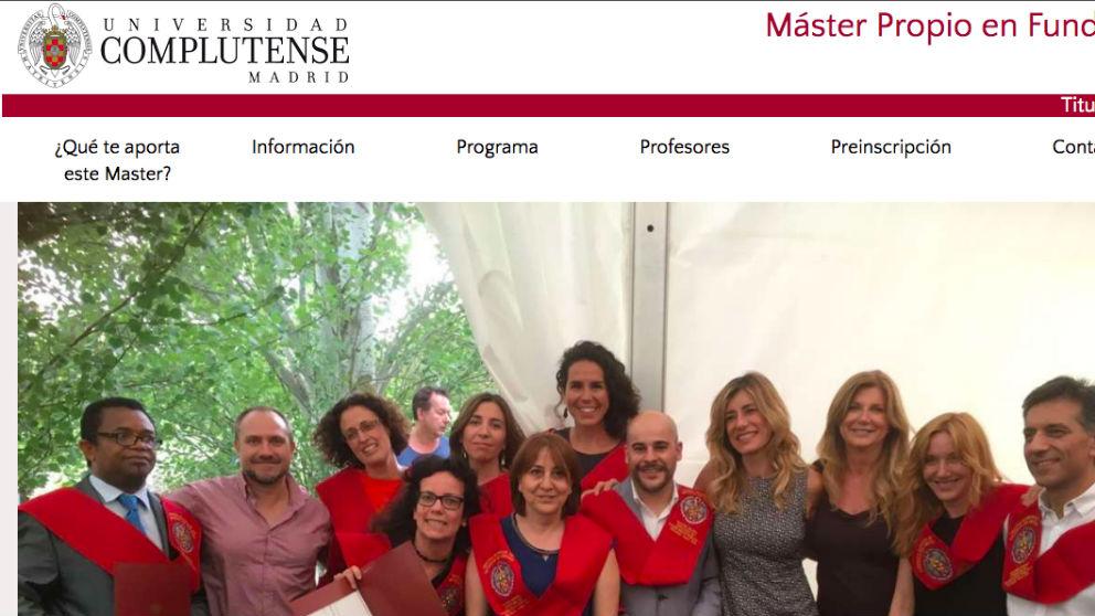 Web de la Complutense con la imagen de Begoña Gómez, esposa del presidente del Gobierno.