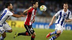 Markel Susaeta y David Zurutuza durante un partido entre la Real Sociedad y el Athletic (@DZurutuza)