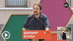 Pablo Iglesias en un encuentro con militantes en Barcelona
