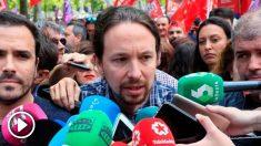 Pablo Iglesias, líder de Podemos, en la manifestación del Día Internacional del Trabajador convocada por CCOO y UGT. Foto: EFE