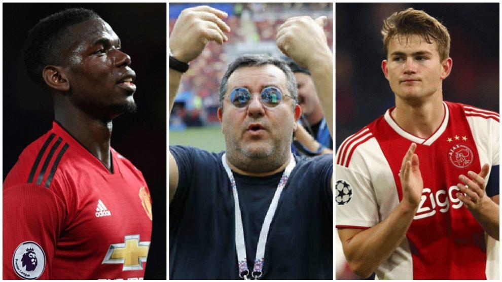Paul Pogba, Mino Raiola y Matthijs De Ligt, en problemas. (AFP/Getty)