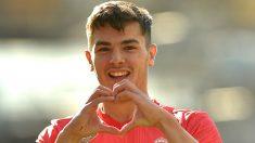 Brahim celebra su gol en Anoeta. (AFP)