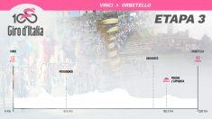 Perfil de la tercera etapa del Giro de Italia.