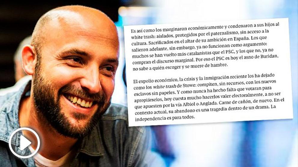 El candidato separatista Jordi Graupera, junto a un fragmento de su artículo publicado en La Vanguardia.