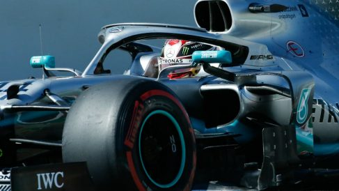 Hamilton, durante el GP de España. (AFP)