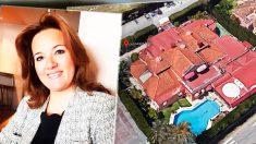 La candidata de Vox Rosa María Calvente, junto a una vista aérea del club de alterne Milady Palace de Marbella.