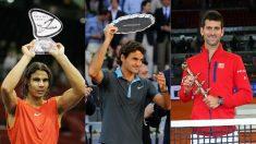 Rafael Nadal, Roger Federer y Novak Djokovic, campeones en el Masters 1000 de Madrid. (Getty)