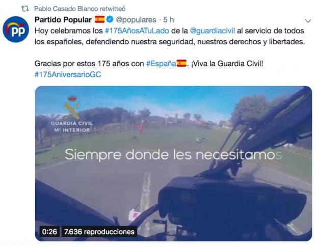 Iglesias es el único líder que no felicita el aniversario a la Guardia Civil que vigila su chalé