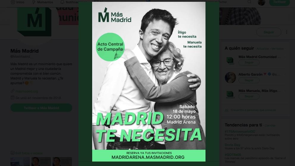 Cartel del mitin de Carmena y Errejón en el Madrid Arena.