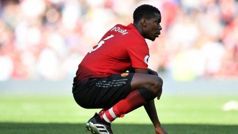 Paul Pogba, abatido tras una derrota del Manchester United. (Getty)