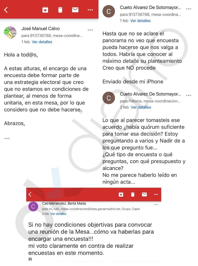 Emails que desmontan las excusas de Manuela Carmena.