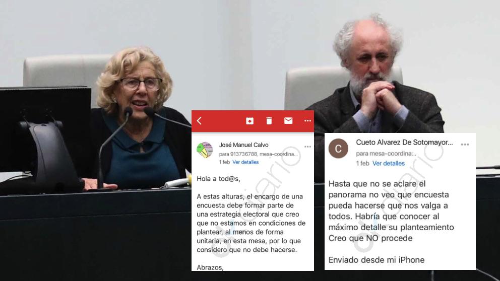 La alcaldesa Manuela Carmena junto a Luis Cueto en el Pleno municipal. (Foto. Madrid)