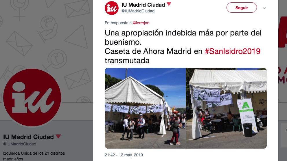 La caseta de Ahora Madrid convertida en la de Más Madrid.