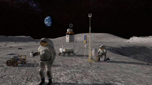 Una reproducción digital de una misión de la NASA en la luna.