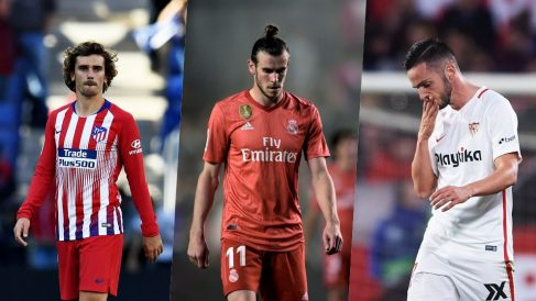 Antoine Griezmann, Gareth Bale y Pablo Sarabia.