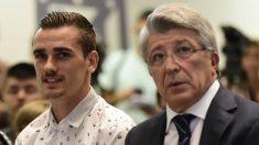 Griezmann y Cerezo, durante un acto. (AFP)