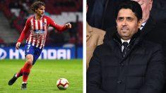 A la izquierda, Griezmann,-durante-un-partido-esta-temporada.-A-la-derecha,-Al-Khelaifi,-presenciando-un-encuentro-del-PSG-(Fotos-AFP)