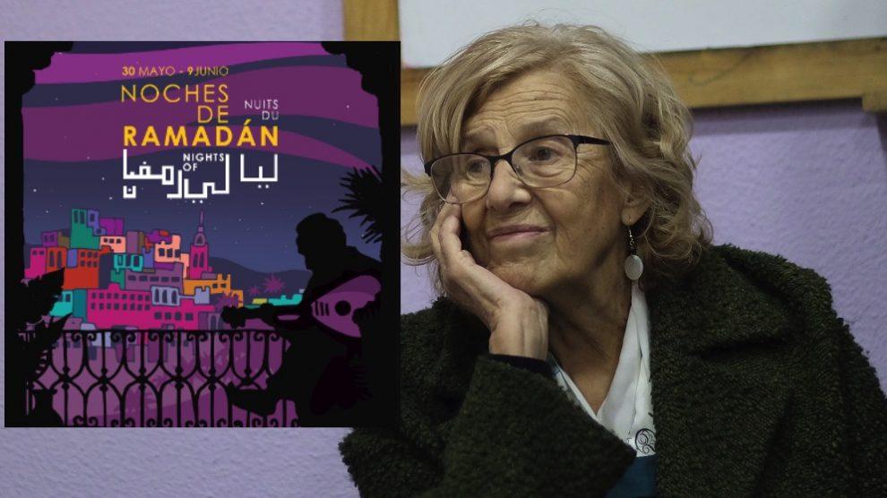 Manuela Carmena con el cartel del Ramadán 2019. (Foto. Madrid)